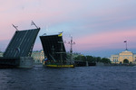 White nights in St PEtersburg - raising Palace bridge