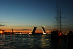 White nights in St Petersburg- raising Palace bridge
